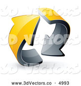 3d Vector Clipart of a Pre-Made Logo of Two Circling Yellow Arrows on White by Beboy