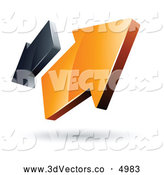 3d Vector Clipart of a Pre-Made Logo of Two Orange and Gray Arrows Going in Opposite Directions by Beboy
