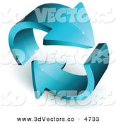 3d Vector Clipart of a Pre-Made Logo of Two Thick Blue Arrows Circling Around by Beboy