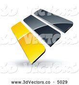 September 30th, 2013: 3d Vector Clipart of a Pre-Made Logo of Yellow and Gray Bars on White by Beboy