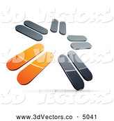 October 9th, 2013: 3d Vector Clipart of a Pre-Made Star Logo of Chrome and Orange Blades Spinning by Beboy