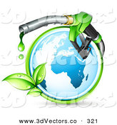 3d Vector Clipart of a Pretty Blue Globe Circled by a Green Vine, with a Large Nozzle Dripping Green Bio Fuel by Beboy