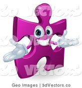 3d Vector Clipart of a Purple Jigsaw Puzzle Character by AtStockIllustration