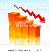October 31st, 2012: 3d Vector Clipart of a Red Arrow Curving Downwards with an Orange Bar Graph Depicting Loss and Debt by KJ Pargeter