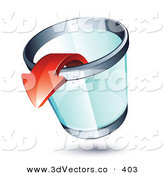 3d Vector Clipart of a Red Arrow Pointing out of a Transparent Chrome Rimmed Trash Can on White by Beboy