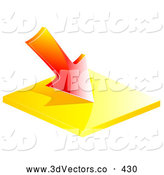 3d Vector Clipart of a Red Loss Arrow Pointing Downward by Elaineitalia