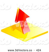3d Vector Clipart of a Red Profit or Loss Arrow Pointing up by Elaineitalia