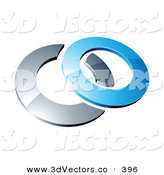 3d Vector Clipart of a Reflective Blue 3d Ring Resting on a Silver Ring, on a White Background by Beboy