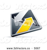 October 22nd, 2013: 3d Vector Clipart of a Reflective Chrome and Yellow Diamond with Arrows by Beboy