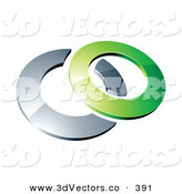 3d Vector Clipart of a Reflective Green 3d Circle Resting on a Chrome Ring, on a White Background by Beboy
