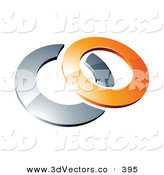 3d Vector Clipart of a Reflective Orange 3d Ring Resting on a Silver Ring, on a White Background by Beboy