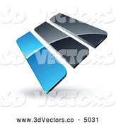 3d Vector Clipart of a Reflective Pre-Made Logo of Blue and Gray Bars by Beboy