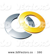 3d Vector Clipart of a Reflective Yellow 3d Ring Resting on Top of a Chrome Ring, on a White Background by Beboy