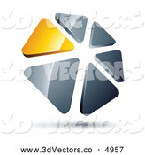 3d Vector Clipart of a Ring of Yellow and Silver Triangles by Beboy