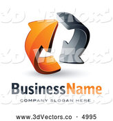 3d Vector Clipart of a Rotating 3d Pre-Made Logo of Gray and Orange Circling Arrows by Beboy