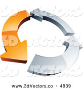3d Vector Clipart of a Rotating Circle of One Orange Arrow and Two Chrome Arrow by Beboy