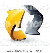 3d Vector Clipart of a Rotating Pre-Made Logo of Gray and Yellow Circling Arrows by Beboy