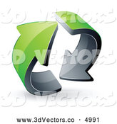 3d Vector Clipart of a Rotating Pre-Made Logo of Two Circling Green Arrows by Beboy