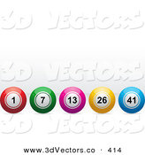 3d Vector Clipart of a Row of Red, Green, Pink, Yellow and Blue Bingo or Lottery or Billiard Balls by Elaineitalia