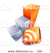 3d Vector Clipart of a RSS Symbol and Orange and Chrome Bar Graph over White by Beboy
