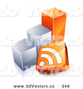 3d Vector Clipart of a RSS Symbol in Front of an Orange and Silver Bar Graph by Beboy