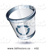 3d Vector Clipart of a See Through Chrome Rimmed Trash Can with Gray Recycle Arrows on the Side by Beboy