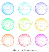 3d Vector Clipart of a Set of 9 Blue, Purple, Green, Orange, Pink and Purple Orbs by Beboy