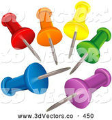 October 7th, 2013: 3d Vector Clipart of a Set of Colorful Push Pins with Their Points in the Center by Dero