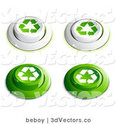 3d Vector Clipart of a Set of Four White and Green Buttons with Recycle Arrows on Them, Includes Depressed Buttons by Beboy