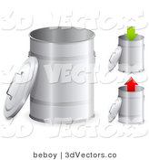 3d Vector Clipart of a Set of Three Metallic Trash Cans with the Lids Off, One with a Green Arrow Pointing down and One with a Red Arrow Pointing up by Beboy