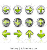 3d Vector Clipart of a Set of Twelve Green Upload, Download, Back and Forth Buttons by Beboy