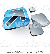 3d Vector Clipart of a Shiny Arrow on a Blue Box near Orange Squares by Beboy