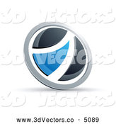 3d Vector Clipart of a Shiny Black and Blue Round Button by Beboy