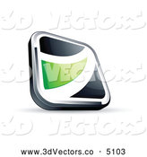 3d Vector Clipart of a Shiny Black Square Button with a Green Wave by Beboy