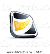 3d Vector Clipart of a Shiny Black Square Button with a Yellow Wave by Beboy