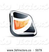 3d Vector Clipart of a Shiny Black Square Button with an Orange Wave by Beboy