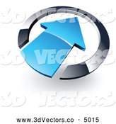 3d Vector Clipart of a Shiny Blue Arrow Pointing Inwards in a Chrome Circle by Beboy