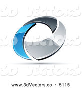 3d Vector Clipart of a Shiny Chrome and Blue Circling Ring by Beboy