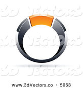 October 21st, 2013: 3d Vector Clipart of a Shiny Chrome and Orange Ring by Beboy