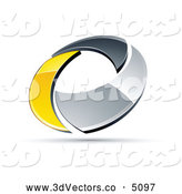 3d Vector Clipart of a Shiny Chrome and Yellow Circling Ring by Beboy