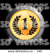 3d Vector Clipart of a Shiny Chrome and Yellow First Place Icon Button with Laurels by Frog974