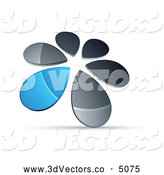 3d Vector Clipart of a Shiny Circle of Chrome and Blue Droplets Forming a Windmill by Beboy