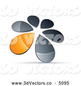 3d Vector Clipart of a Shiny Circle of Chrome and Orange Droplets Forming a Windmill by Beboy