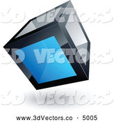 3d Vector Clipart of a Shiny Cube with One Blue Transparent Window by Beboy