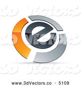 3d Vector Clipart of a Shiny E Circled by Chrome and Orange Bars by Beboy