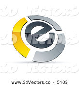 3d Vector Clipart of a Shiny E Circled by Chrome and Yellow Bars by Beboy