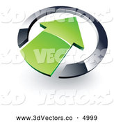 3d Vector Clipart of a Shiny Green Arrow Pointing Inwards in a Chrome Circle by Beboy
