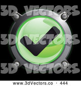 September 21st, 2013: 3d Vector Clipart of a Shiny Green Check Mark Button Icon on Black by Frog974