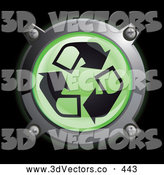 September 21st, 2013: 3d Vector Clipart of a Shiny Green Recycle Arrow Button Icon on Black by Frog974