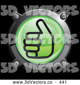 September 18th, 2013: 3d Vector Clipart of a Shiny Green Thumbs up Button Icon Logo by Frog974